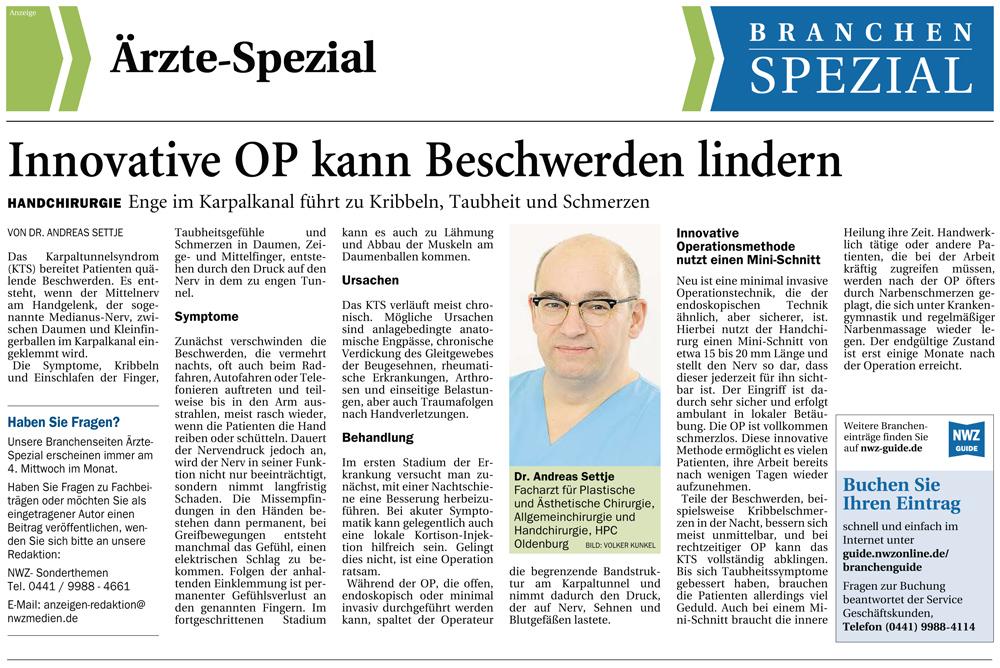 Artikel zum Karpaltunnelsyndrom in der NWZ Oldenburg